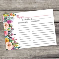 Floral Bridal Shower Recipe Cards - 4x6 Recipe Cards - Bridal Shower Favors - Watercolor Floral - Instant Download Bridal-154 by PartyPrintery on Etsy https://www.etsy.com/listing/287900659/floral-bridal-shower-recipe-cards-4x6