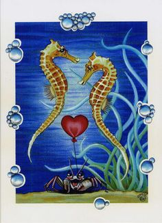 Seahorses in Love Verliefde Zeepaardjes  door PurpleRoseConnection, $19.63