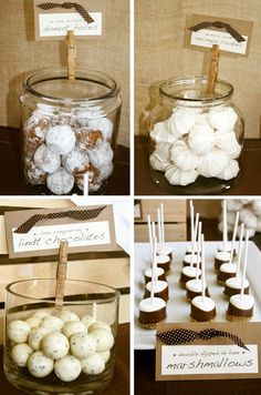how to incorporate mason jars in wedding desert table | Pen N' Paperflowers: real parties | Rustic Bridal Shower • Ally ...