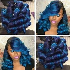 25 Amazing Blue Black Hair Color Looks Love Hair, Gorgeous Hair, Weave Hairstyles, Pretty Hairstyles, Hairstyle Ideas, Nail Design Stiletto, Hair Colorful, Curly Hair Styles, Natural Hair Styles