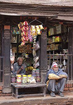 Shopkeeper And Friend, Nepal ( 2379 pasalē पसले shopkeeper, merchant, vendor n. ) (3128 mīta मीत friend n. )