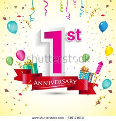 1st Years Anniversary Celebration Design, with gift box and balloons, red ribbon, Colorful Vector template elements for your birthday party.