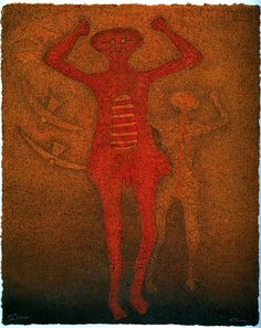 Personaje con Pajaros. Gorgeous mixografia by Rufino Tamayo. Please inquire for more details.