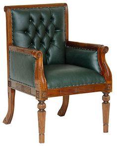 MAHAGONI SESSEL BIBLIOTHEKSTUHL CHESTERFIELD STUHL RACING GREEN CHEFSESSEL  TOP Beschreibung (Description) Bibliothekssessel / Library Chair Im  Chesterfield ...