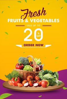 Fresh Fruits And Vegetables Poster Fruit And Vegetable Storage, Vegetable Shop, Vegetable Stand, Vegetable Prints, Food Graphic Design, Food Poster Design, Vegetable Delivery, Brochure Design Layouts, Food Banner