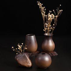 Zakkz Firewood burnt Pottery Vase Ceramic Ornaments Handmade Flower Arrangement Pottery Decor Gift