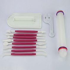Auralum® 11-teilig Kuchendekorationswerkzeuge, Modellierset - Zuckerkunst, Torten-Set Modellierwerkzeug, Teigglätter/-messer/-roller für Torten, Kuchen und Deko (Rosa) Auralum http://www.amazon.de/dp/B00WHROF5U/ref=cm_sw_r_pi_dp_e9Vswb11XYJ9N