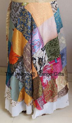 Vintage Silk Saree Recycled Patchwork Magic Wrap Around Skirt Reversible Dress #Unbranded #PatchworkSkirt