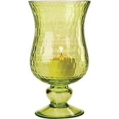 Small Chartreuse Green Glass Hurricane Candle Holders