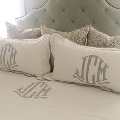 scalloped monogram pom pom pillow by peppermintbee on etsy bedroom