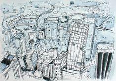 Sydney Buildings - Mixed Media Drawing