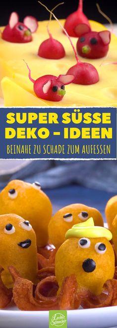 Leckere Snack-Ideen, die ebenfalls wunderbar als Deko geeignet sind! #rezept #rezepte #obst #rohkost #deko #tiere #kinder #party #geburtstag