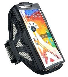 """myLife Stainless Grey and Churning Black {Rain Resistant Velcro Secure Running Armband} Dual-Fit Jogging Arm Strap Holder for Samsung Galaxy Note 3 """"All Ports Accessible"""" myLife Brand Products http://www.amazon.com/dp/B00T59SLDK/ref=cm_sw_r_pi_dp_.cK-ub0P0CKRF"""