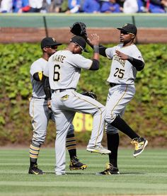 (L-R) Andrew McCutchen Starling Marte and Gregory Polanco Pnc Park, Pittsburgh Pirates, Milwaukee Brewers, Starling, Chicago Cubs, Baseball Cards, People, Common Starling, People Illustration