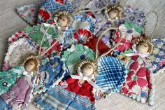 Quilted Angels using up cycled quilt Quilted Christmas Ornaments, Christmas Sewing, Primitive Christmas, Christmas Angels, Handmade Christmas, Vintage Christmas, Christmas Decorations, Fabric Ornaments, Victorian Christmas