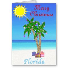 Florida Christmas Cards Palm Tree on Beach. Florida Themed Christmas Cards are customizable. Beach Christmas Cards and Gifts.  Tropical Beach Christmas Cards, Ornaments and other Tropical Christmas  Cards and Gifts please CLICK HERE: http://www.zazzle.com/littlelindapinda/gifts?cg=196208599071599335&rf=238147997806552929*/
