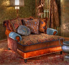 A modern take on a Victorian carpet chair ~ http://www.brumbaughs.com - What an elegant idea for a tiny house.