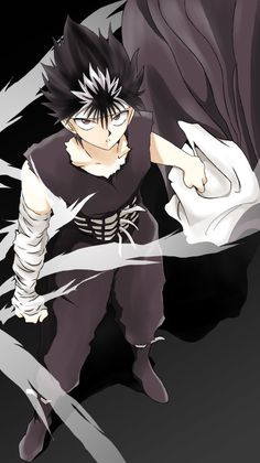 Day Demon or human Hiei - What kind of a question is that? Even if you could, to turn Hiei human would incur his ultimate wrath upon you. Does this look like the face of someone who wants to be human? Manga Anime, Anime Guys, Anime Art, Geeks, Yu Yu Hakusho Anime, Samurai, Lupin The Third, Yoshihiro Togashi, Vash