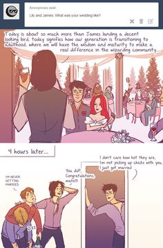 "The comics also cover post-Hogwarts events, like James and Lily's wedding. | These Hilarious ""Harry Potter"" Comics Ask James And Lily Potter Questions"