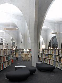 Tama Art University Library, Hachioji campus. column, material, angle, light, height.