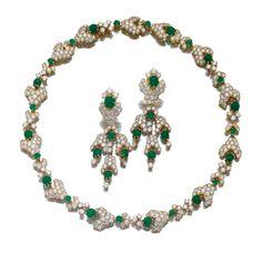 Emerald and diamond demi-parure, M. Gérard | Lot | Sotheby's