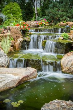 backyard oasis with pond and waterfalls, gardening, outdoor living, ponds water features, A close up view of careful rock placement creating a natural looking waterfall Backyard Water Feature, Ponds Backyard, Garden Pool, Backyard Waterfalls, Koi Ponds, Easy Garden, Backyard Ideas, Pond Landscaping, Waterfall Landscaping