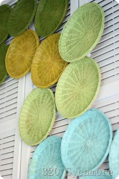 woven paper plate holders repurposed as art hanging on repurposed shutters used as a headboard ( & Repurpose: wicker plate holders (ReFab Diaries)   Pinterest   Plate ...