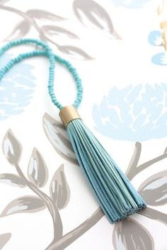 Leather Tassel Necklace - Sea Foam