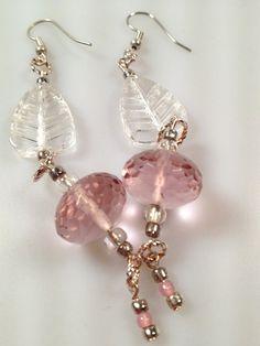 IBA Pink Ice & Clear Leaf Pierced  Earrings by InspiredByAmber, $18.00