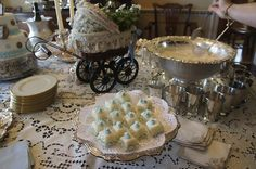 Antique pieces for baby shower.