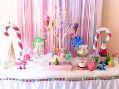 A Glittery Christmas Candy Land Party #candyland #party