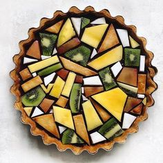 Classic lemon tart with a blueberry layer. Topped with tessellated fruit design…. Classic lemon tart with a blueberry layer. Topped with tessellated fruit design. Pastry Art, Food Design, Design Ideas, Creative Food, Food Art, Eat Cake, Food Inspiration, Love Food, Sweet Recipes