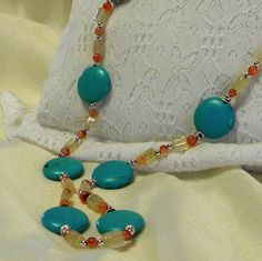 Necklace Feldspar Turquoise in Color with Quartz by marilyn1545, $35.00