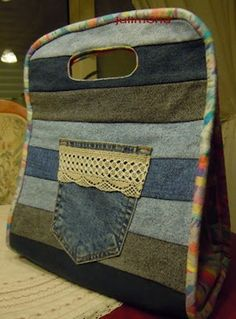 A fun bag for recycled jeans...make a good lunch sack