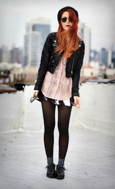 moto jacket + pink lace