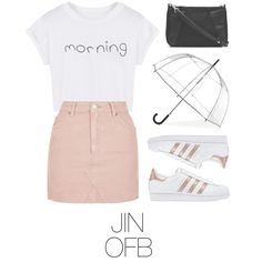 Date on the coast with BTS by mazera-kor on Polyvore featuring mode, WithChic, Topshop, adidas Originals, Witchery, ShedRain, bts and jin
