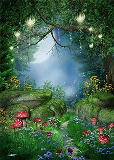 Amazon.com : SUSU 5x7ft Fairytale Photography Backdrops Forest Dreamlike Background Lighting Red Mushroom Photo Video : Camera & Photo