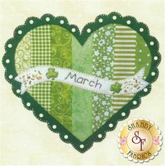 Celebrate the Year - March Kit: Celebrate the Year is a Shabby Exclusive designed by Jennifer Bosworth! Create adorable seasonal decor for your home by framing it, making a pillow, or making a quilt!This is the Block 3 - March Kit, which includes all instructions and materials (fabrics, wool felt, and embellishments) needed to complete the block that finishes at 10 1/2