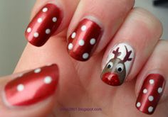 Use Essie's Scarlett O' Hara to make create these nails for Christmas. Such a cute idea.