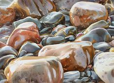 Waves on Stones by David McEown. Excellent water on stone painting! Watercolor Landscape Paintings, Watercolour Painting, Watercolours, Guache, Watercolor Techniques, Art Lessons, Amazing Art, Awesome, Art Projects