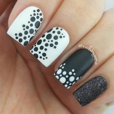 21 Super Cool White and Black Nail Designs to Match any Mood - Colorful Nail Designs - Dot Nail Designs, Black And White Nail Designs, Simple Nail Designs, Nails Design, Easy Designs, Pedicure Designs, Dots Design, Dot Nail Art, Polka Dot Nails