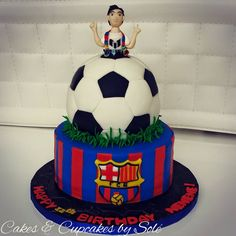 Barcelona Futbol Cake/ Fondant Cake/ Messi Cake/ Ball Cake/ Birthday Cake www.facebook.com/cakescupcakesbysole