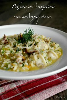 risoto me laxanika kai kolokythakia Greek Cooking, Fun Cooking, Cooking Time, Greek Recipes, Fish Recipes, Snack Recipes, Recipies, Rice Dishes, Fish And Seafood