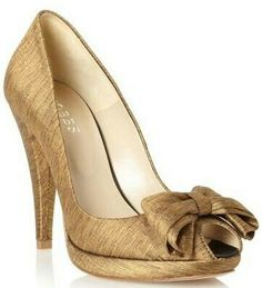 e9a1c33e30df hold peep toe shoes with bow Gold Court Shoes