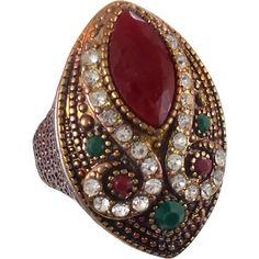 Turkey Ring , Brass Silver, Vintage Ring, Ottoman, Glass  #vintagejewelry under $25 @rubylanecom Ruby Lane Ruby Emerald, Boho Statement, Size 9 1/2, Ethnic Tribal, Red Green, CZs, Big