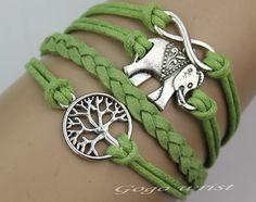 elephant bracelet  Infinity karmathe tree of life by gogowrist, $4.29