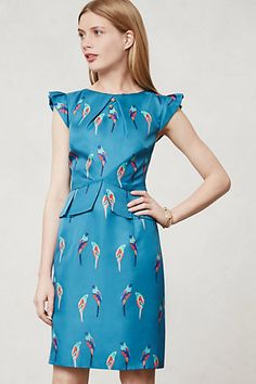 Perruche Dress #anthropologie    As the weather gets warmer and the afternoons more adventurous, we're craving whimsical, retro-inspired pick-me-ups. With chirpy parakeets, ruffled cap sleeves and a subtle peplum waist, we can't think of anything more delightful than this colorful sheath from Karen Walker.  $168