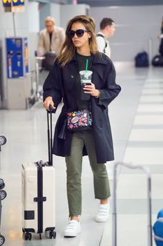 Jessica Alba with the All Over Stickers Cross-Body #AnyaHindmarch