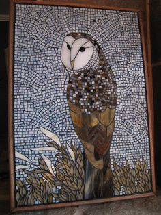This Stained Glass Mosaic Owl panel measures x and is framed in Maple. Owl Mosaic, Mosaic Birds, Mosaic Pots, Mosaic Glass, Mosaic Crafts, Mosaic Projects, Stained Glass Projects, Stained Glass Art, Mosaic Ideas