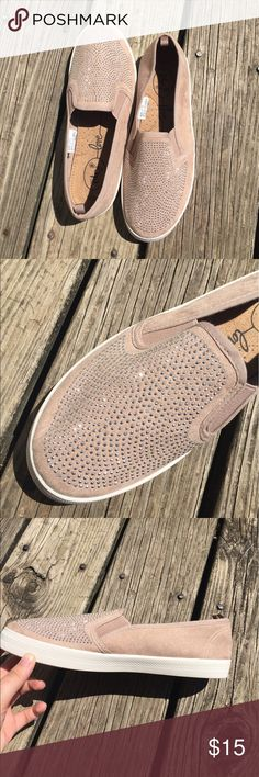 Sparkle Suede Nude Slip On Sneakers | NWOT | sparkle detail on top | nude suede | white bottoms| Size is a L 8/9 | Rue21 Shoes Sneakers